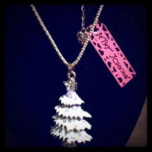 Betsey Johnson White/Purple Christmas Tree Necklac